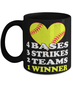 Funny Baseball heart coffee gift mug 11oz - 4 Bases 3 Strikes 2 Teams 1 Winner