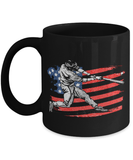 American Flag Baseball Batter Coffee Mug 11oz - Stressed blessed baseball obsessed