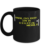 Analog boy in a digital world coffee mug