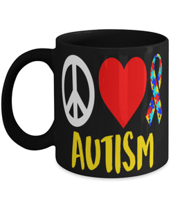 "Autism awareness mug - ""Peace love autism"" - Autism mom - Autism Dad - Autism teacher - 11oz coffee mug - Christmas stocking filler"