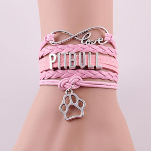 Infinity Love Leather Pitbull Bracelet With Dog Paw Charm