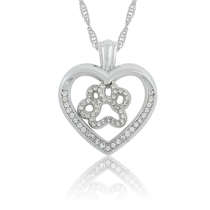 Stunning Crystal Encrusted Heart Shaped Paw Print Necklace