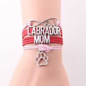 Infinity Love Leather Labrador Mom Bracelet With Dog Paw Charm
