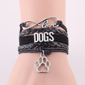 Infinity Love Leather Dogs Bracelet With Dog Paw Charm