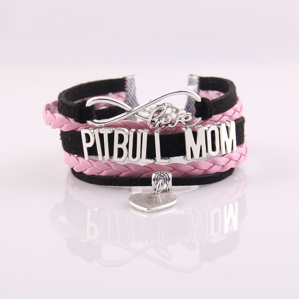 Infinity Love Leather Pitbull Mom Bracelet With Heart Charm