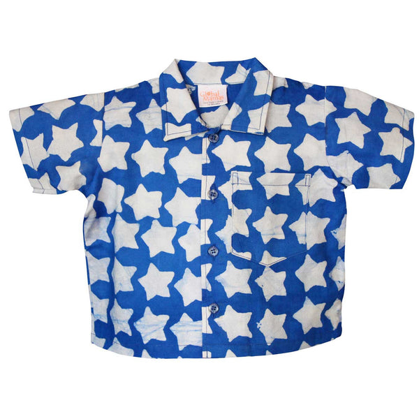Babies Button Down Shirt Stars Blue