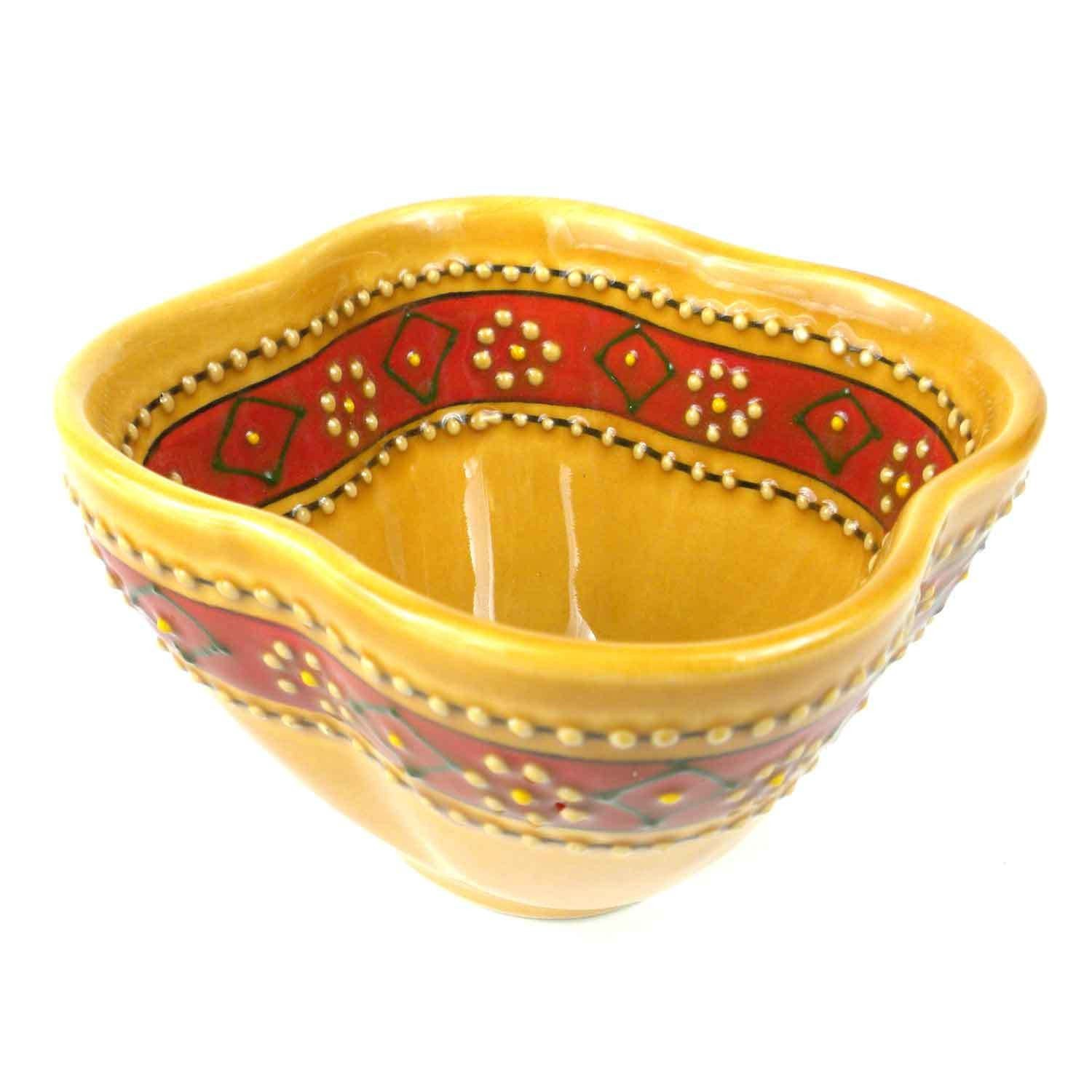 Hand-painted Dip Bowl in Honey Handmade and Fair Trade
