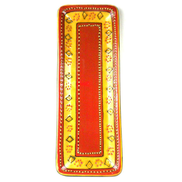 Hand-painted Long Platter in Red