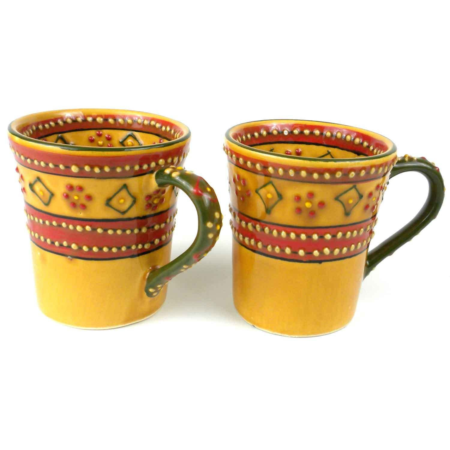 Set of 2 Hand-painted Flared Mugs in Red Handmade and Fair Trade