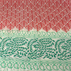 Red and Green Leaf Design Cotton Scarf
