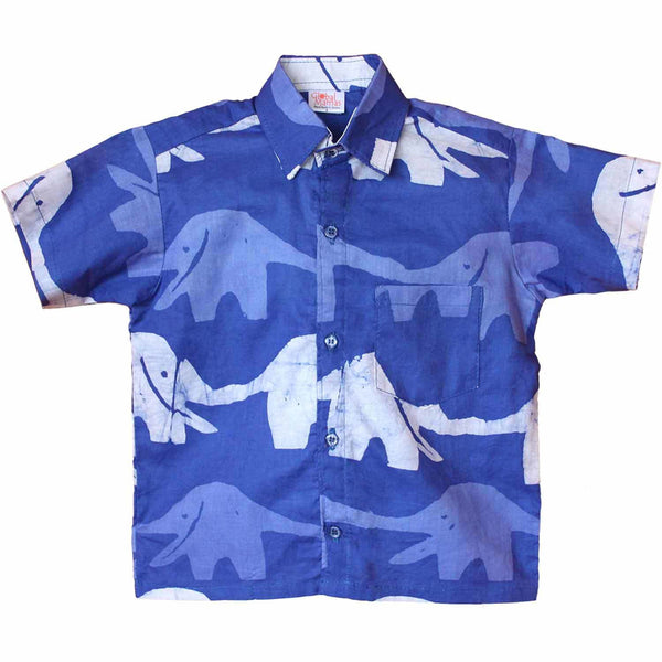 Boys Button Down Shirt - Blueberry Elephant