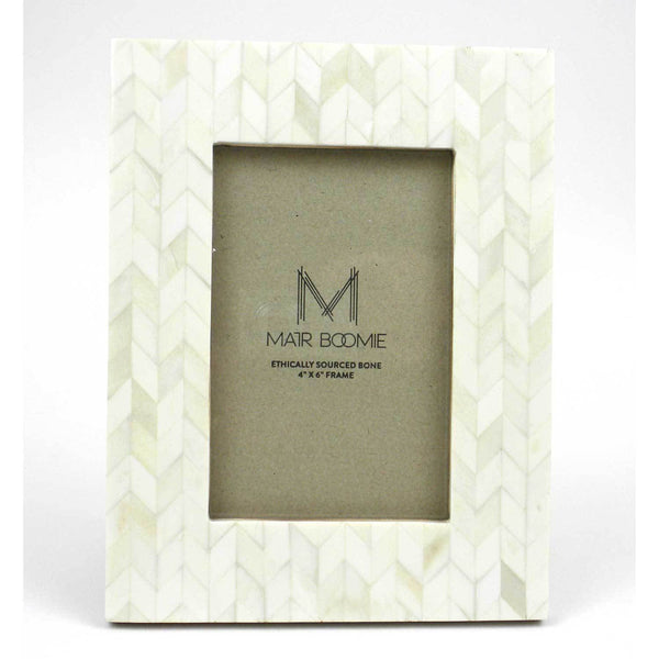 Chevron Pearl Bone Wood Frame
