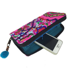 Blossom Zippered Wallet - Turquoise