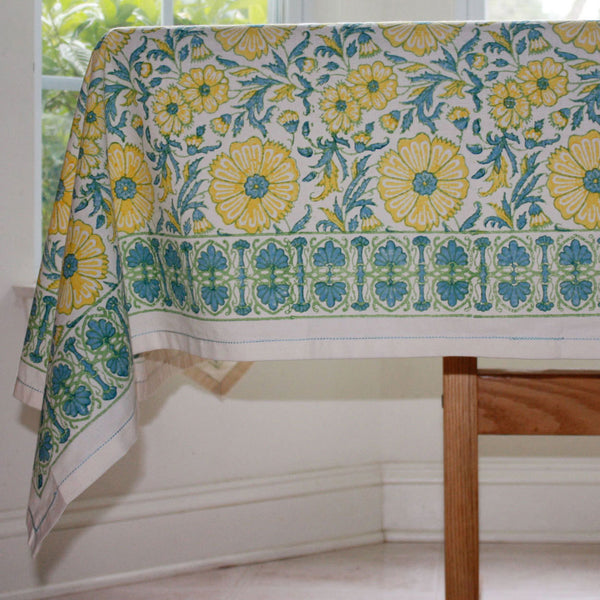 Yellow Floral Blockprint Cotton Tablecloth 60 by 60