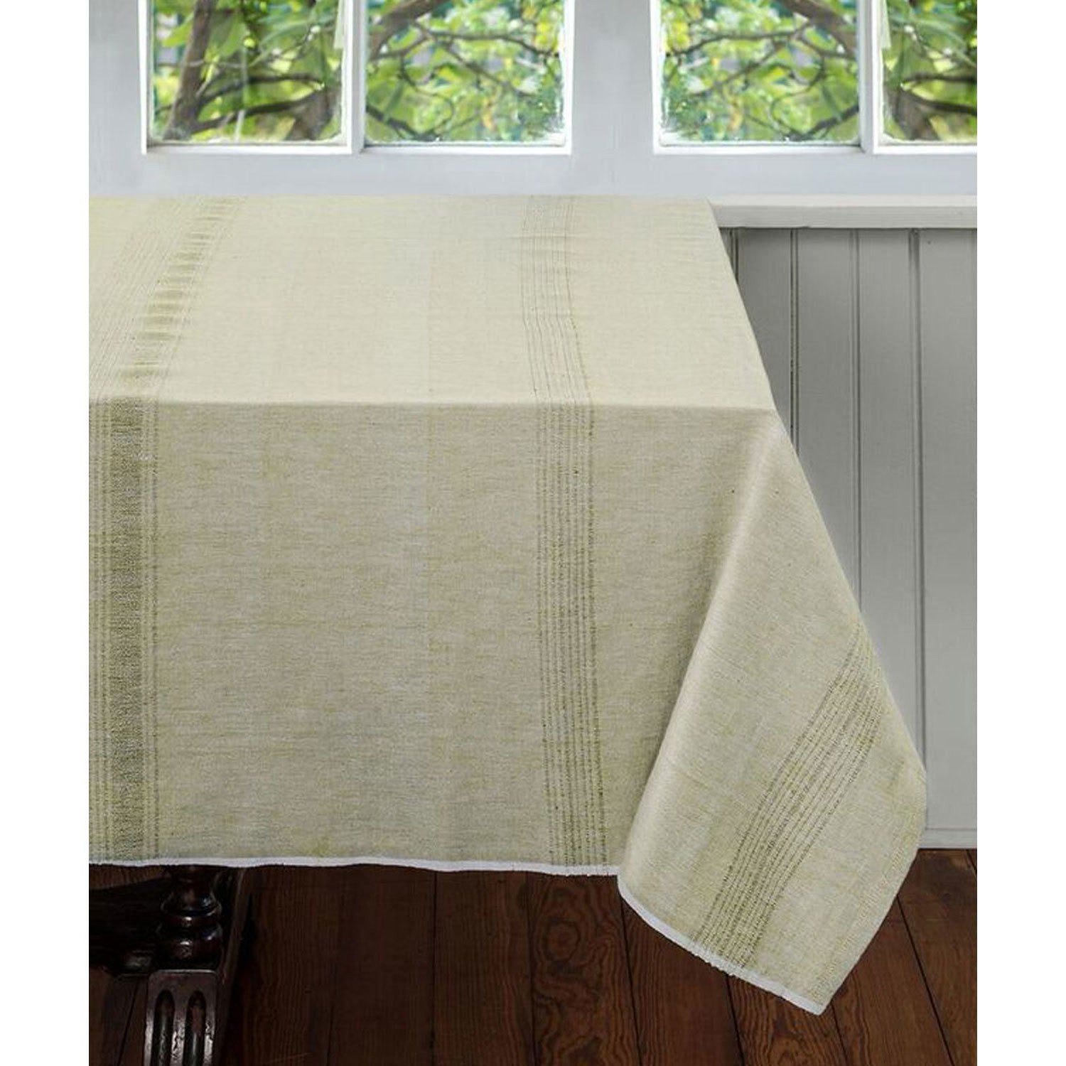 Pale Leaf Cotton Tablecloth 90 by 60
