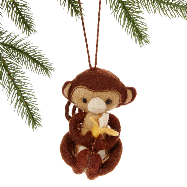 Monkey Felt Holiday Ornament