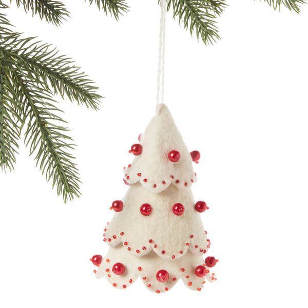 White Tree Felt Holiday Ornament Red Beads