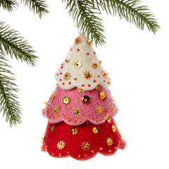 Tiered Red Tree Felt Holiday Ornament
