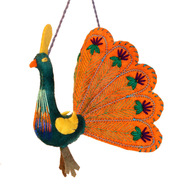 Orange Peacock Felt Holiday Ornament
