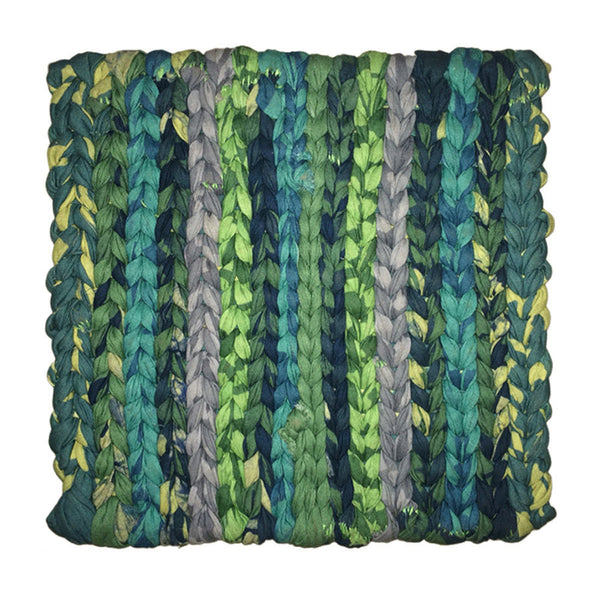 Recycled Fabric Woven Trivet Green