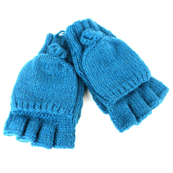 Posy Flap-over Gloves - Teal