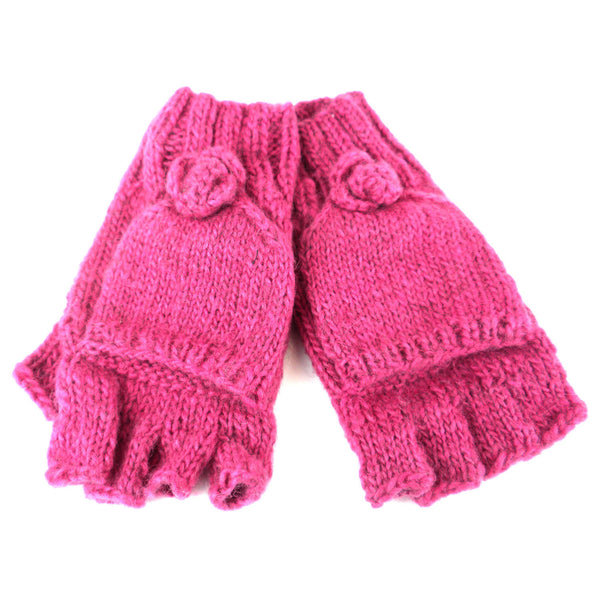 Posy Flap-over Gloves - Hot Pink