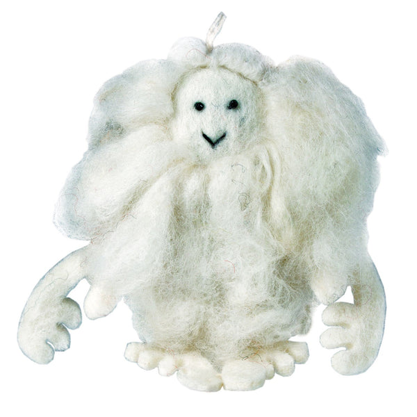 White Felt Yeti Ornament