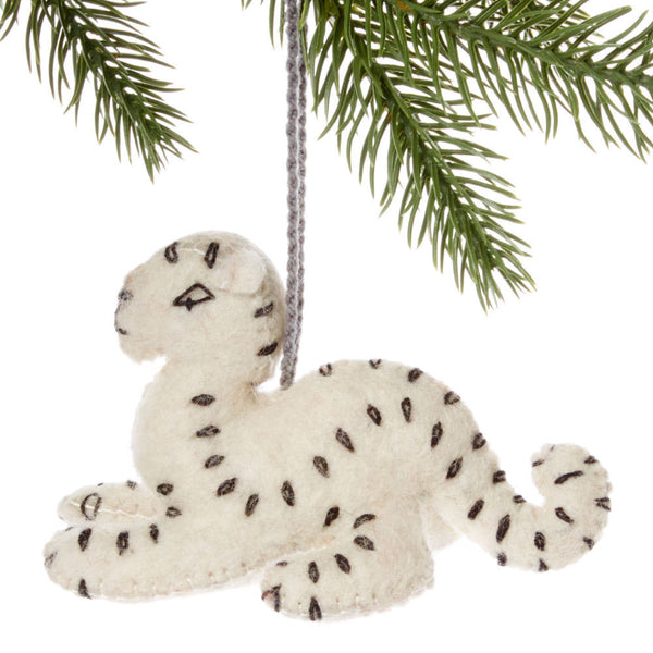 Snow Leopard Felt Holiday Ornament