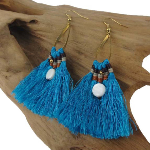 Fringe Earrings - Turquoise - Global Groove