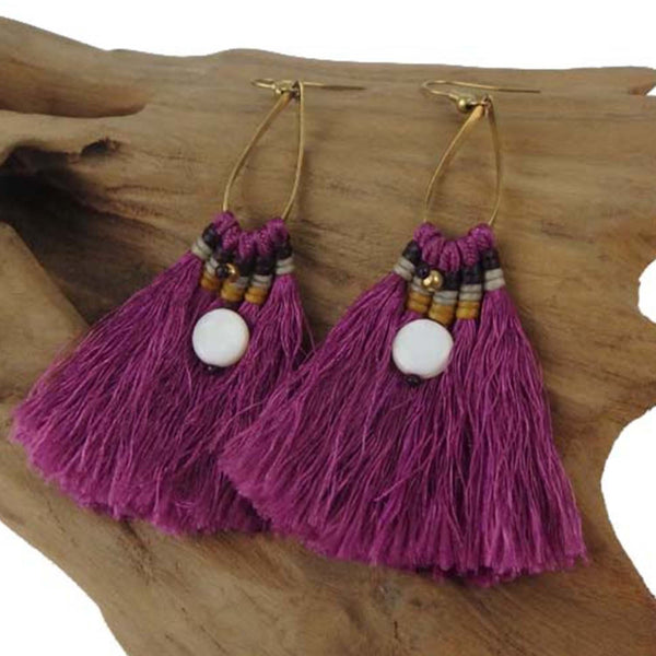 Fringe Earrings - Fuschia - Global Groove