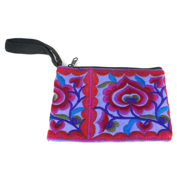 Hmong Embroidered Coin Purse - Purple - Global Groove