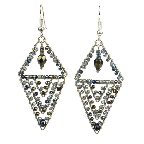 Pyramid Earrings - Grays - Lucias Imports