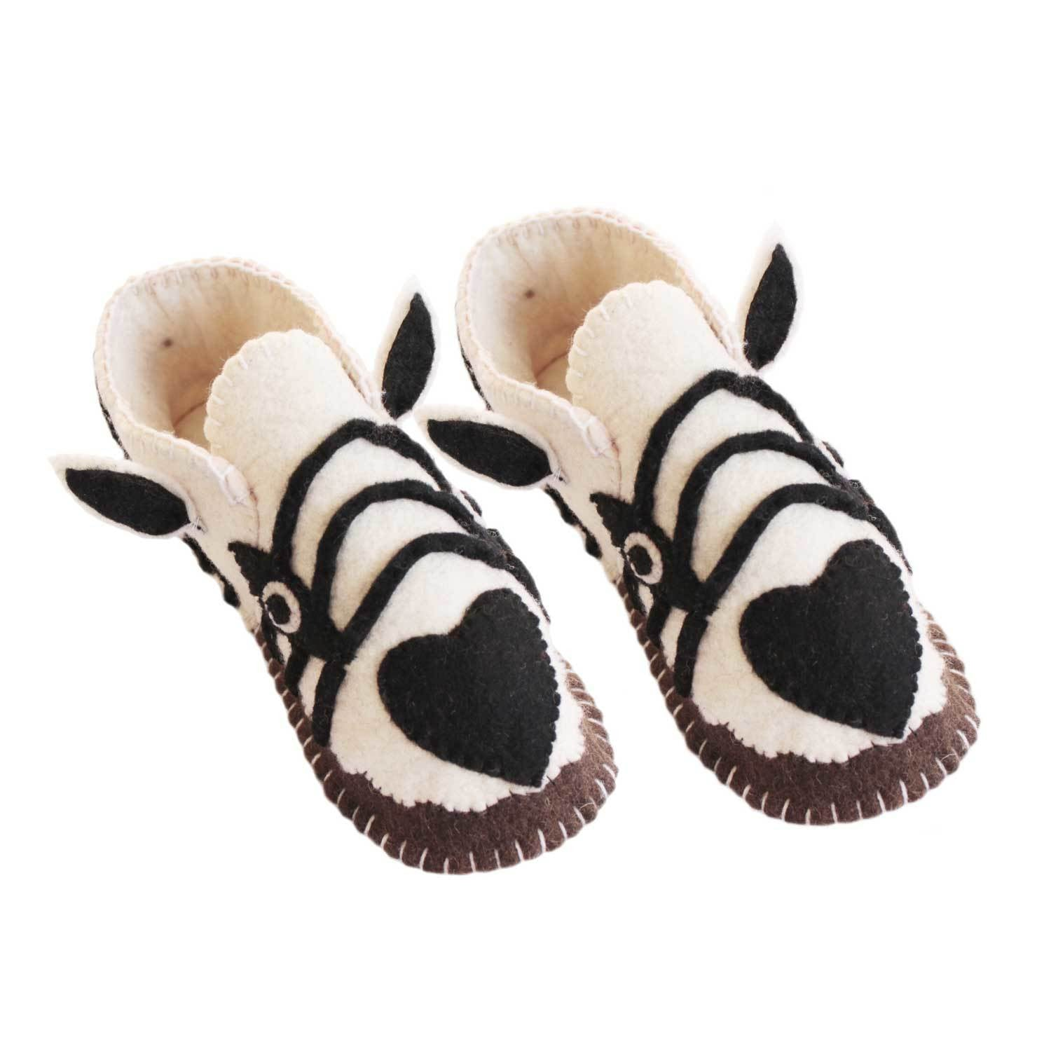 Zebra Slippers Adult Small