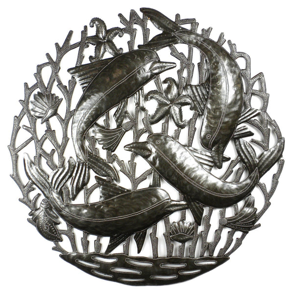 Pod of Dolphins Metal Wall Art