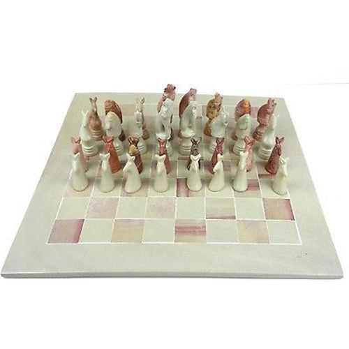 "Hand Carved Soapstone Animal Chess Set - 15"" Board Handmade and Fair Trade"