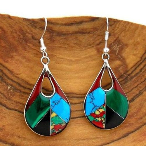 Open Alpaca Silver Teardrop Diagonal Mosaic Stone Earrings