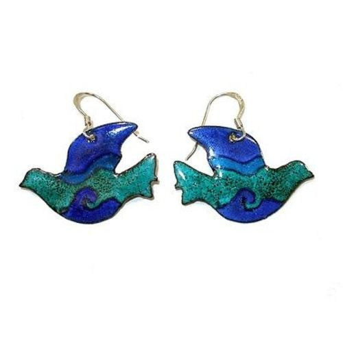 Enamel on Copper Peace Dove Earrings - Chilean