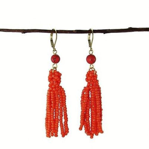 Tangerine Tassel Drop Earrings