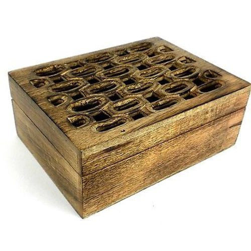 Handcrafted Carved Mango Wood Open Box