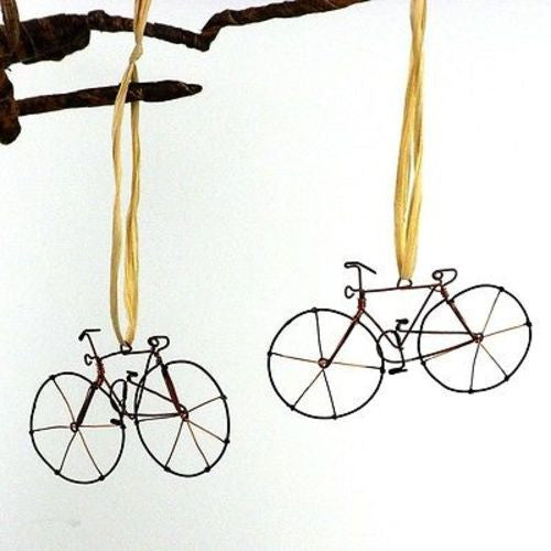 Set of Two Handmade Wire Bicycle Ornaments