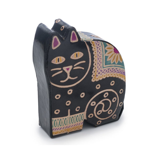 Leather Kitty Coin Bank
