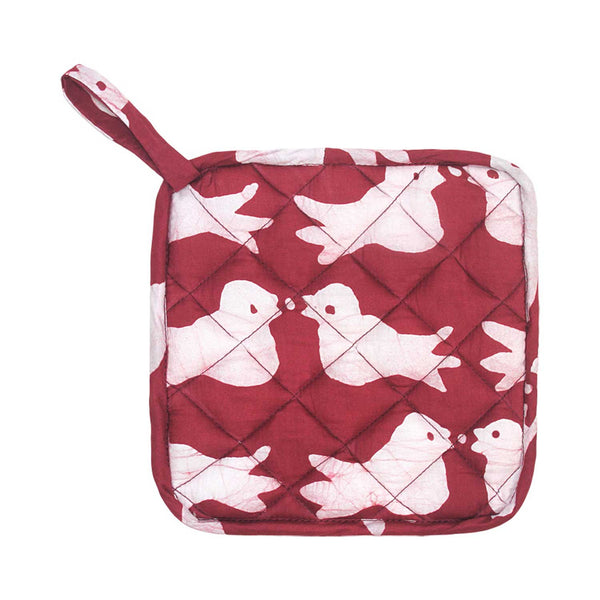 Pot Holder Two Birds Design Plum