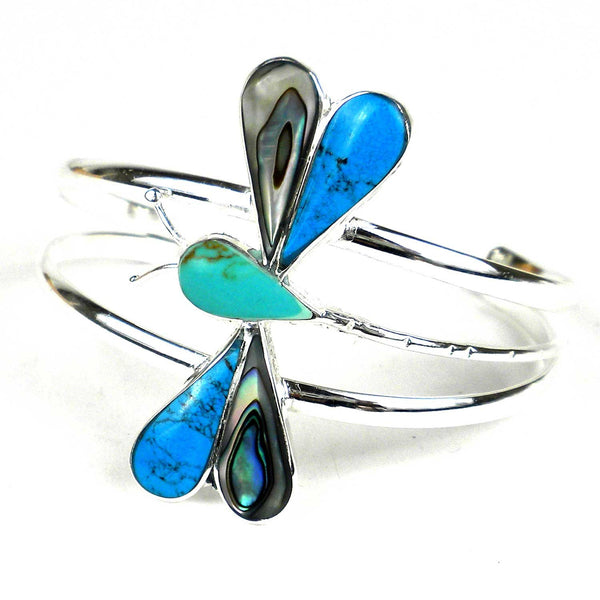 Turquoise Mosiac Alpaca Silver Dragonfly Bracelet - Small