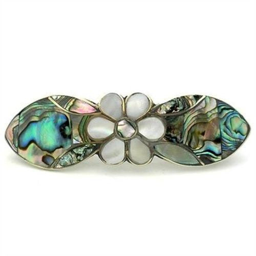 Abalone and Mother of Pearl Daisy Hair Barrette