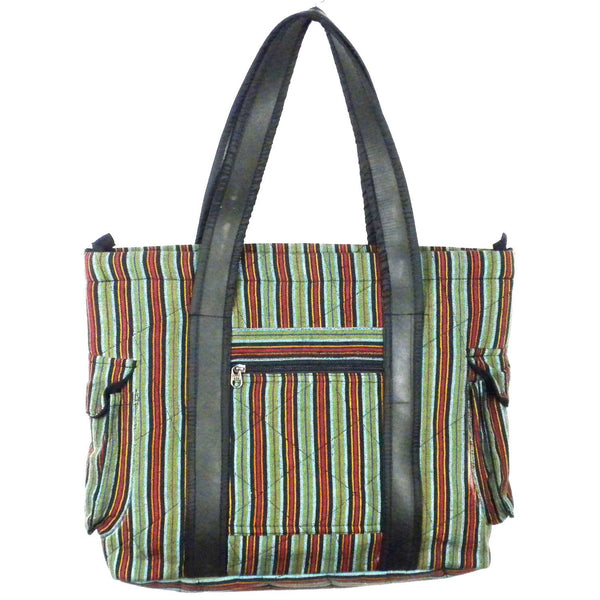 Striped Tote with Tire Straps