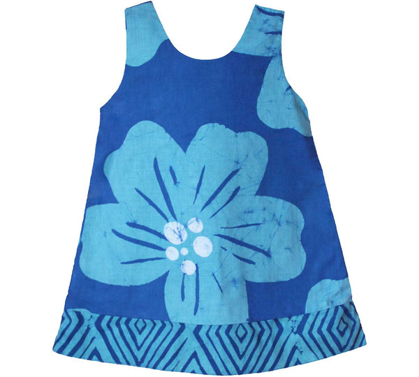 Girls Reversible Dress Giant Flower Teal