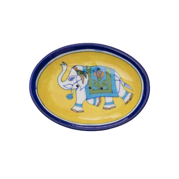 Blue Pottery Elephant Soap Dish - Yellow