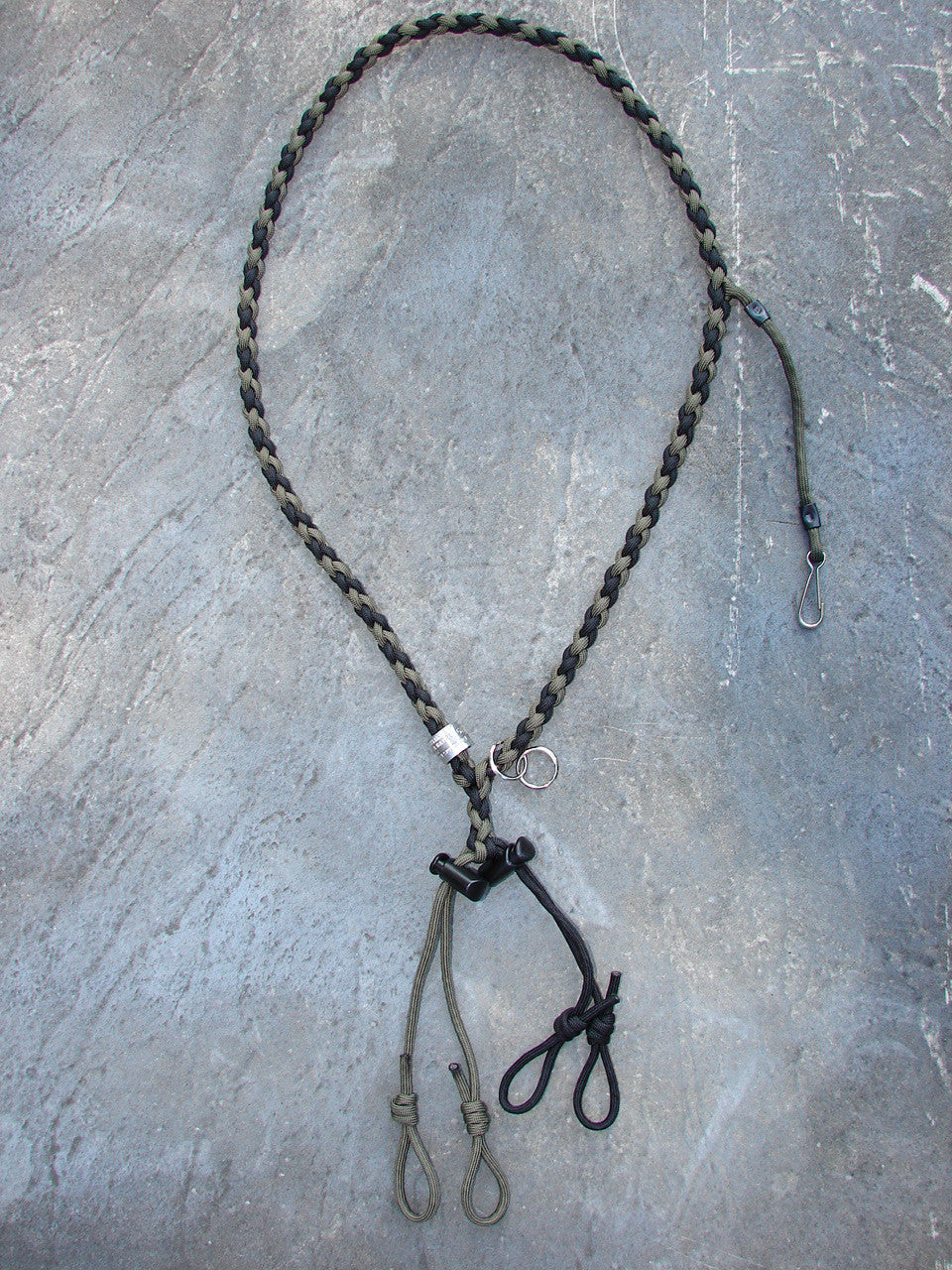 Paracord Lanyard for 2 calls and whistle - round braid