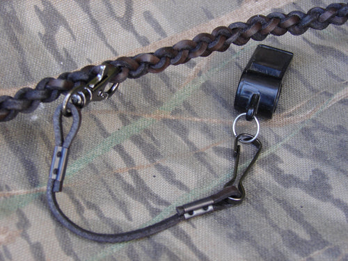 QR whistle drop - leather