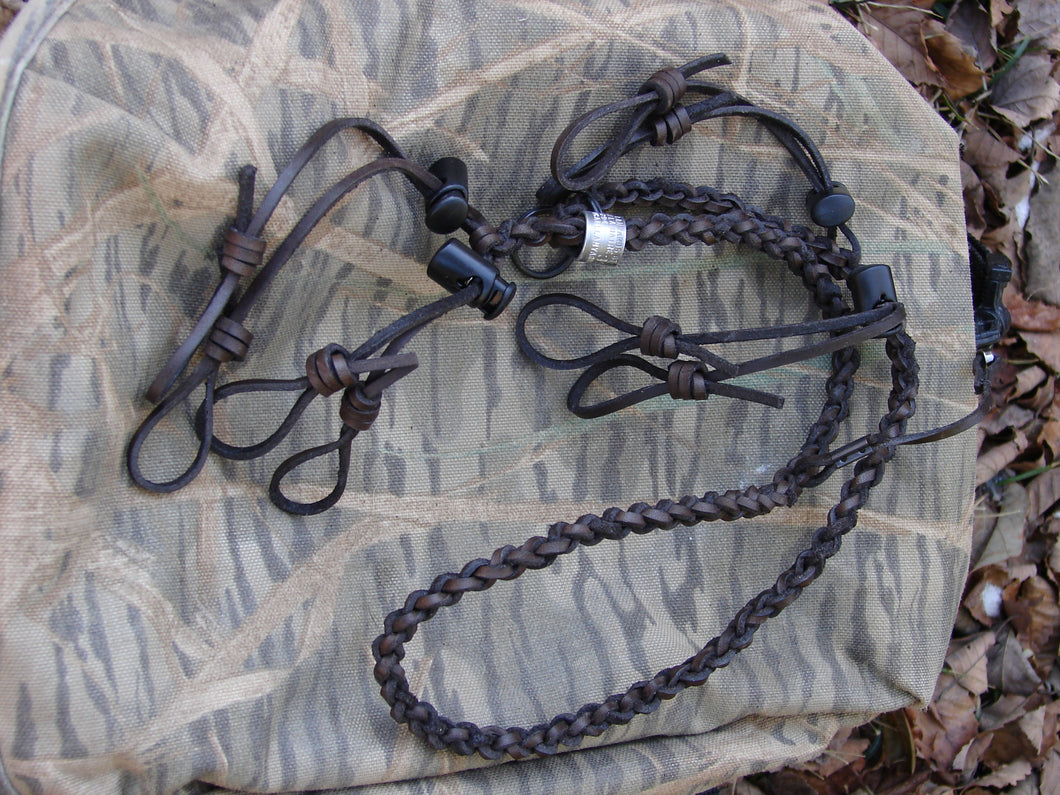 Waxed leather lanyard for 4 calls and 1 whistle